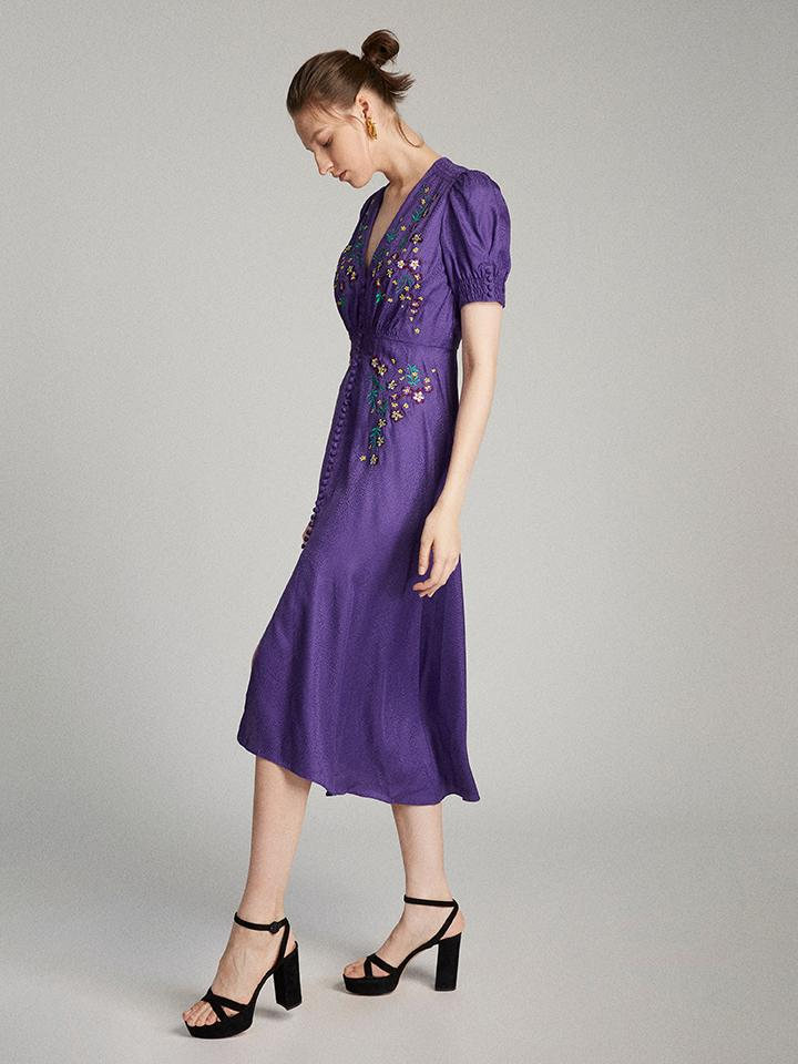 Load image into Gallery viewer, Lea Dress in Dark Purple