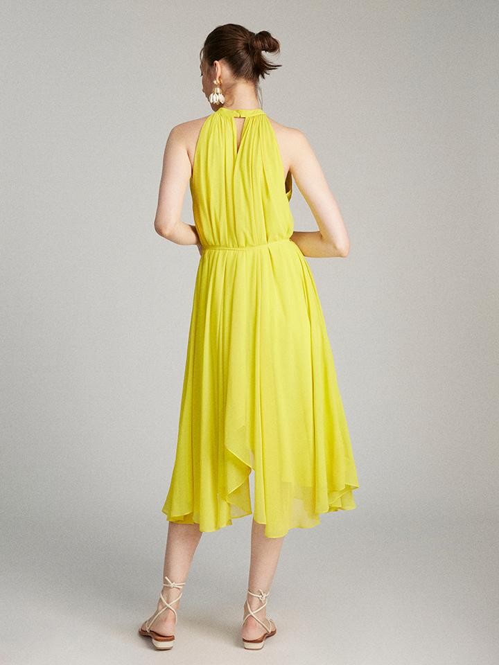 Iris Dress in Bright Lemon