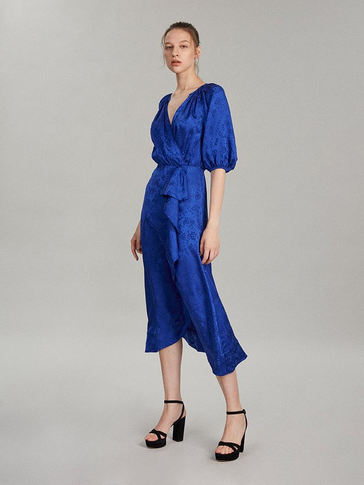 Load image into Gallery viewer, Draped Olivia Dress in Deep Cobalt
