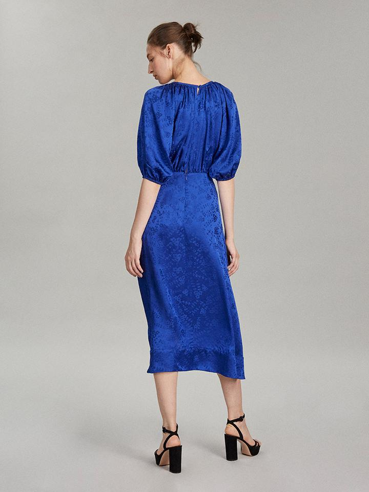 Draped Olivia Dress in Deep Cobalt