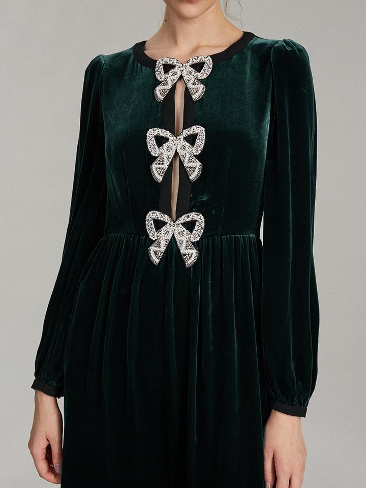 Load image into Gallery viewer, Camille Velvet Embellished Bows Dress in Green