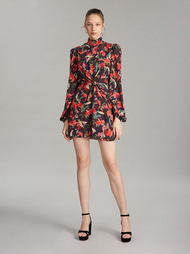 Load image into Gallery viewer, Demi Mini Dress in Dusk Moonflower print