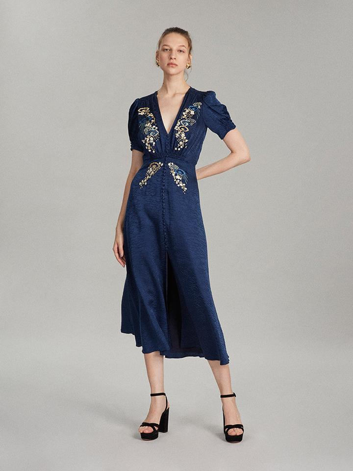 Load image into Gallery viewer, Lea Long Dress in Navy Cloud Embroidered