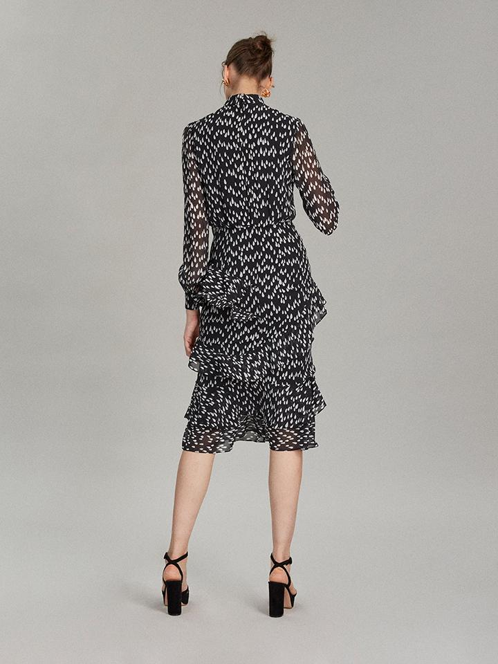 Load image into Gallery viewer, Isa Ruffle Dress in Mono Teardrop print