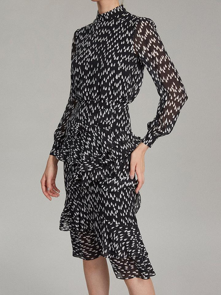 Isa Ruffle Dress in Mono Teardrop print