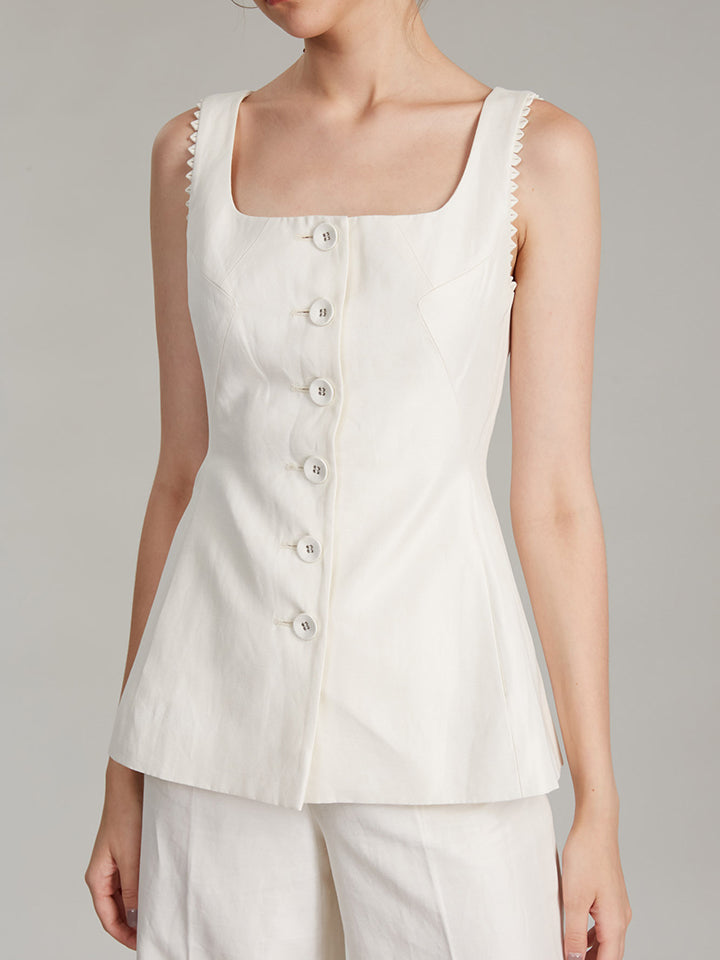 Load image into Gallery viewer, Bibba Sleeveless Jacket in Cream