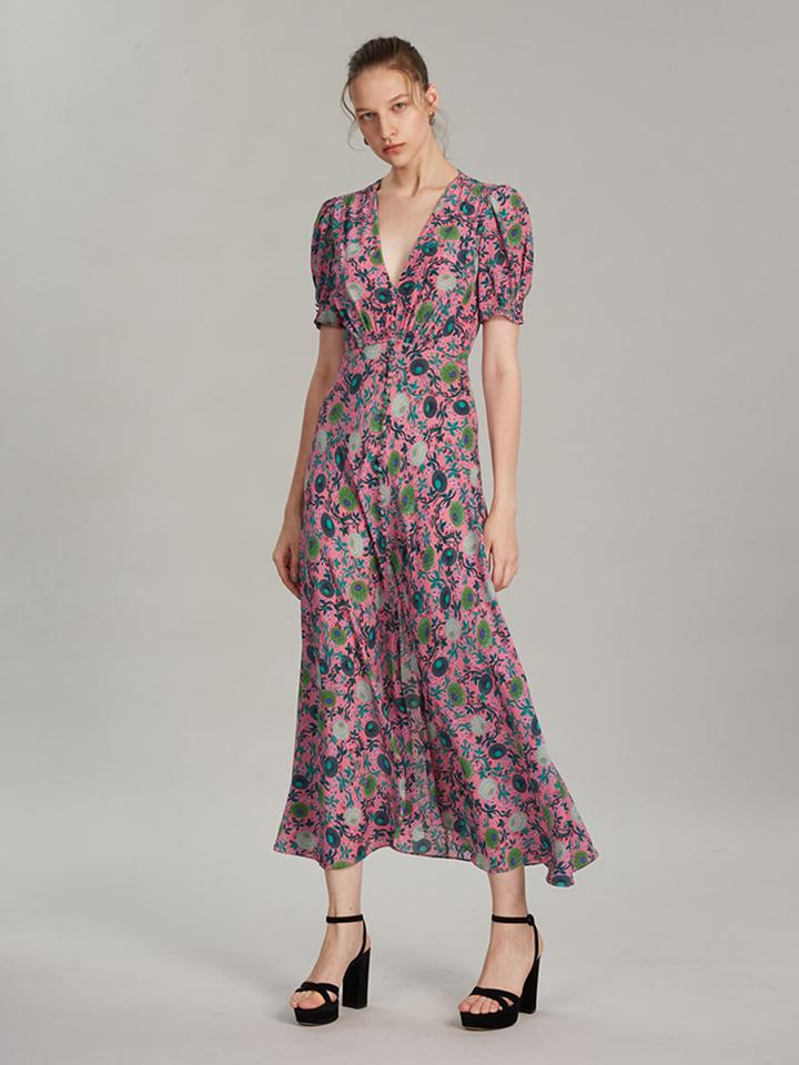 Lea Long Dress in Lotus Leaves print