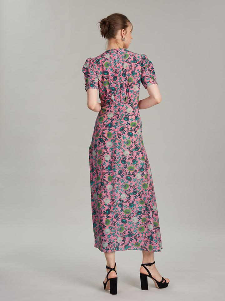 Load image into Gallery viewer, Lea Long Dress in Lotus Leaves print