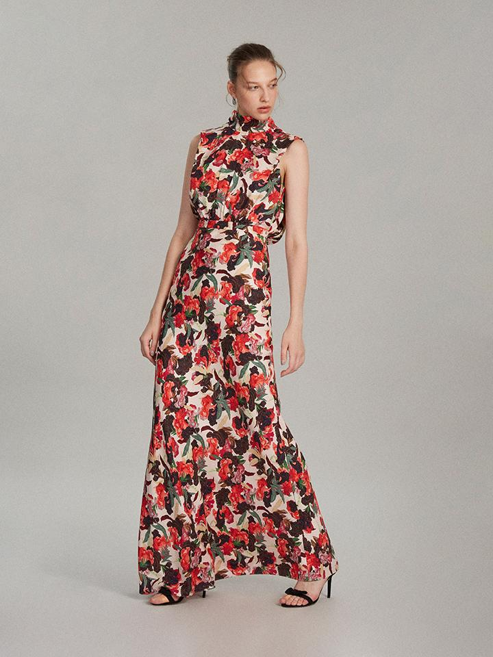 Load image into Gallery viewer, Fleur Dress in Dawn Moonflower print