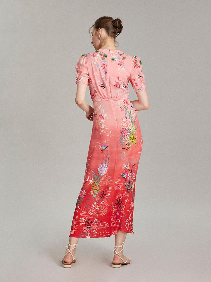 Lea Long Dress in Red Camellia print