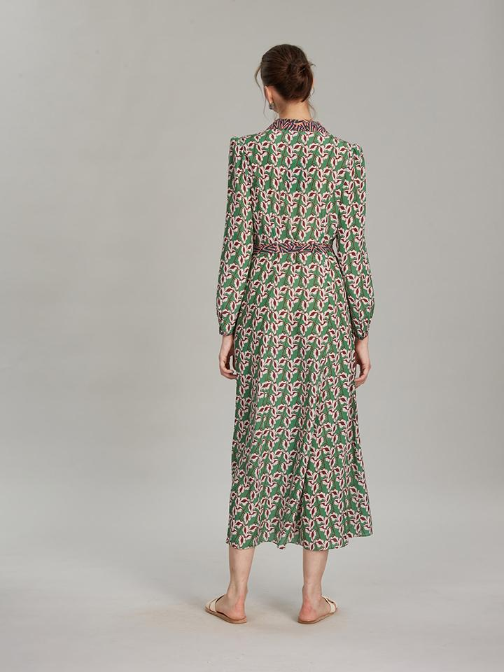 Load image into Gallery viewer, Vanessa-B Dress in Larkspur Leaf print