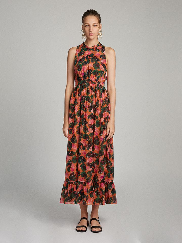 Load image into Gallery viewer, Agnes Dress in Orange Lilypad print