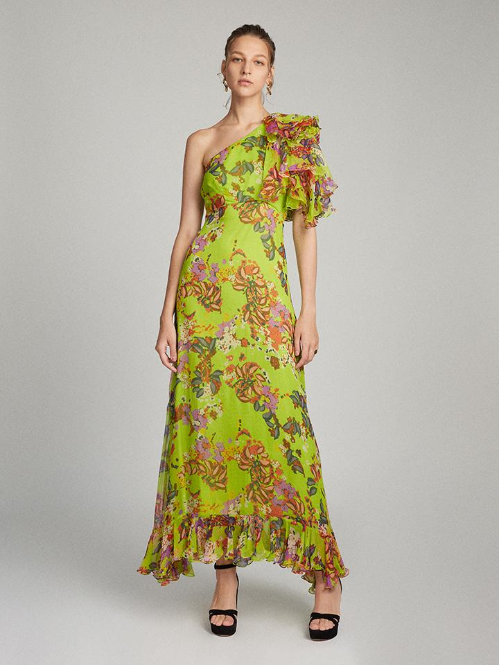 Danielle Dress in Lime Begonia