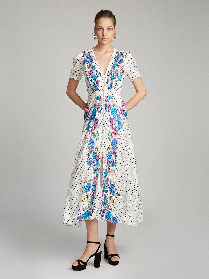 Load image into Gallery viewer, Lea Long Dress in Ivory Polka Dot