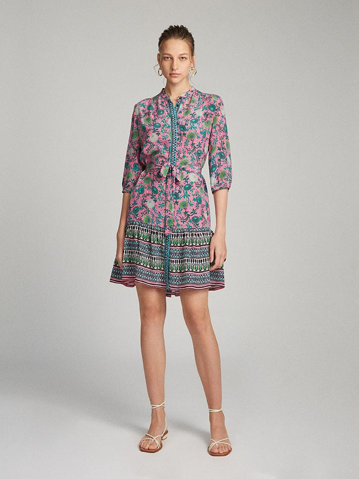 Load image into Gallery viewer, Tyra Dress in Lotus Leaves print