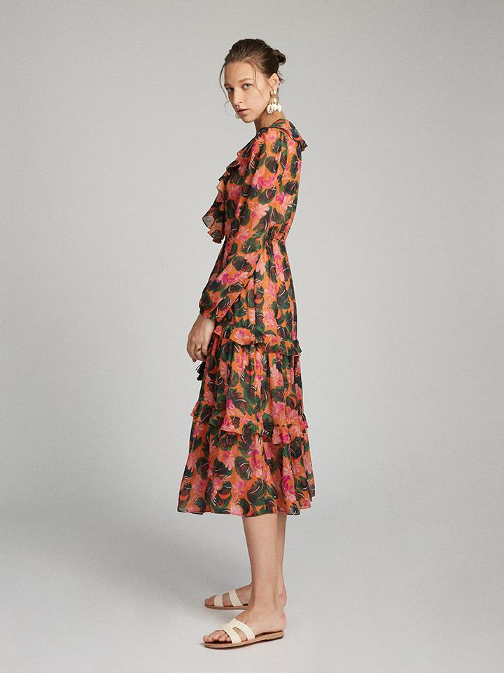 Yara Dress in Orange Lilypad print
