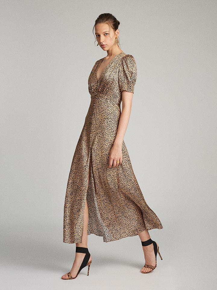 Load image into Gallery viewer, Lea Long Dress in Camo Leopard