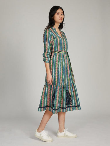 Alexia Cotton Dress in Peacock Weave print