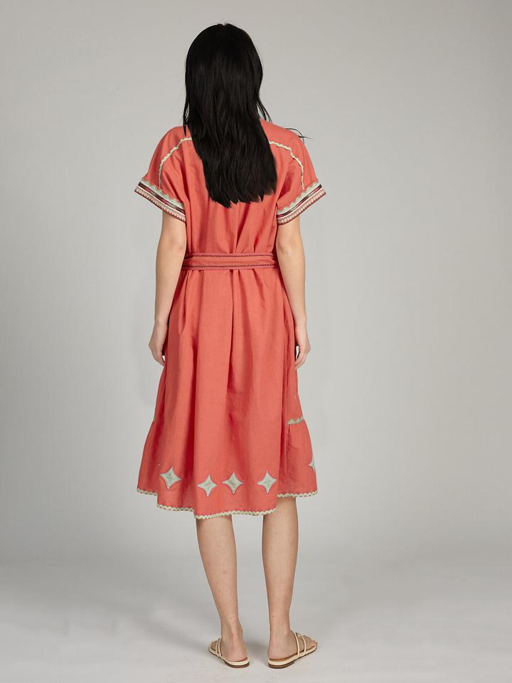 Load image into Gallery viewer, Ashley Long Dress in Terracotta Red
