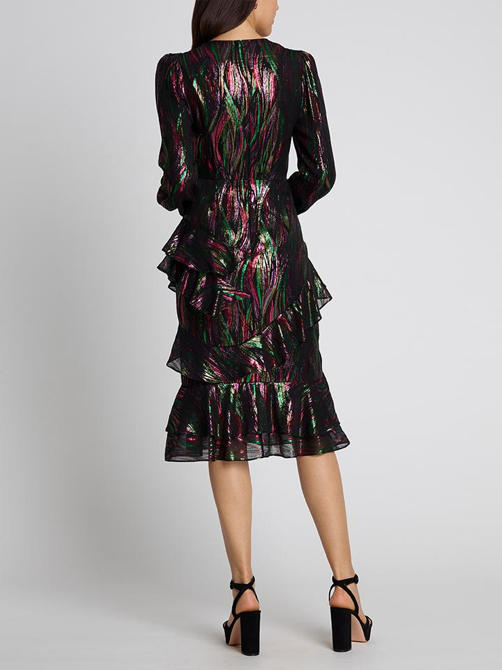 Load image into Gallery viewer, Alya Metallic Rainbow Dress