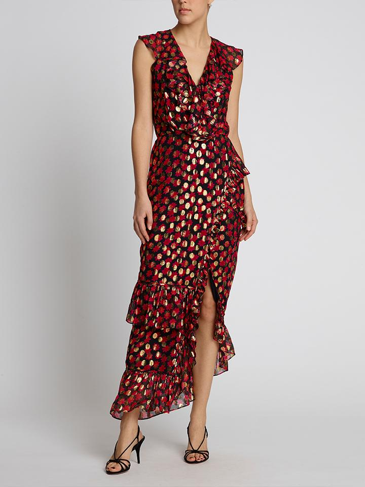 Load image into Gallery viewer, Anita Scarlet Daisy Maxi Dress