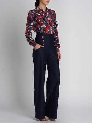 MARA OPEN CHECK WOOL TROUSERS