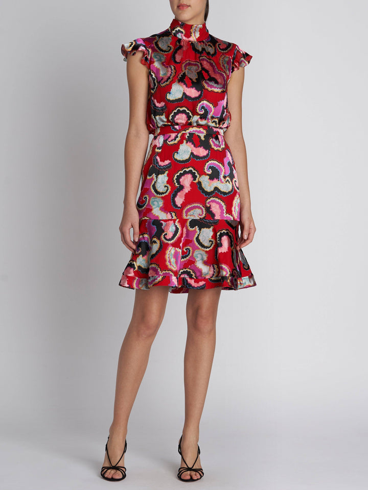 Load image into Gallery viewer, Phoebe Coral Daybreak Devore Dress
