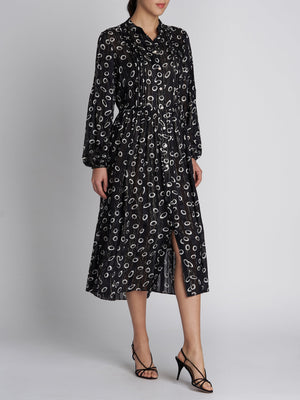 RAQUEL B SPACE DOT SILK DRESS