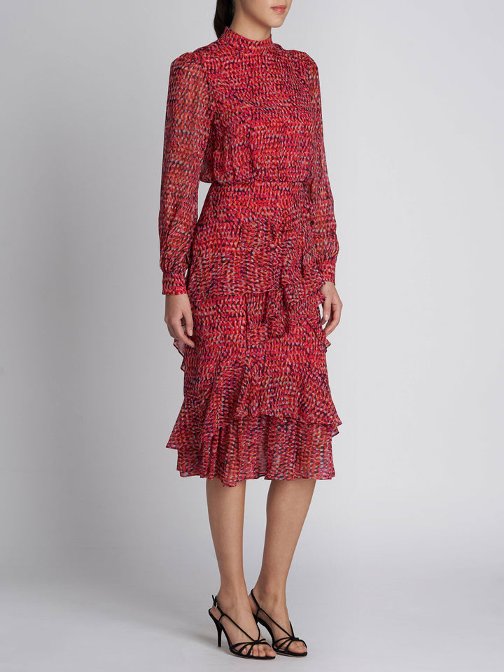 Load image into Gallery viewer, Isa Ruffle Harati Rouge Silk Dress