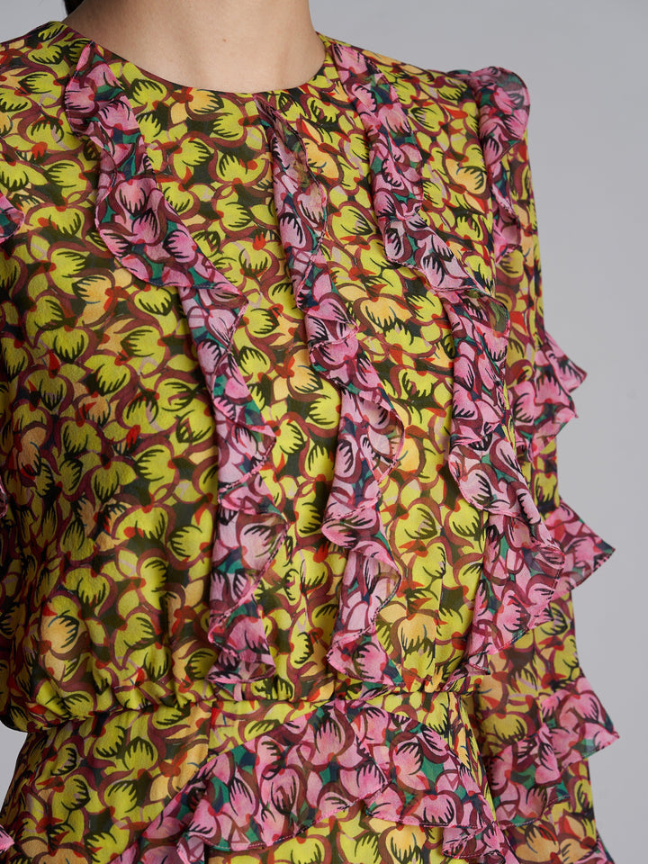 Load image into Gallery viewer, Victoria Pemala Lime Rose Silk Dress