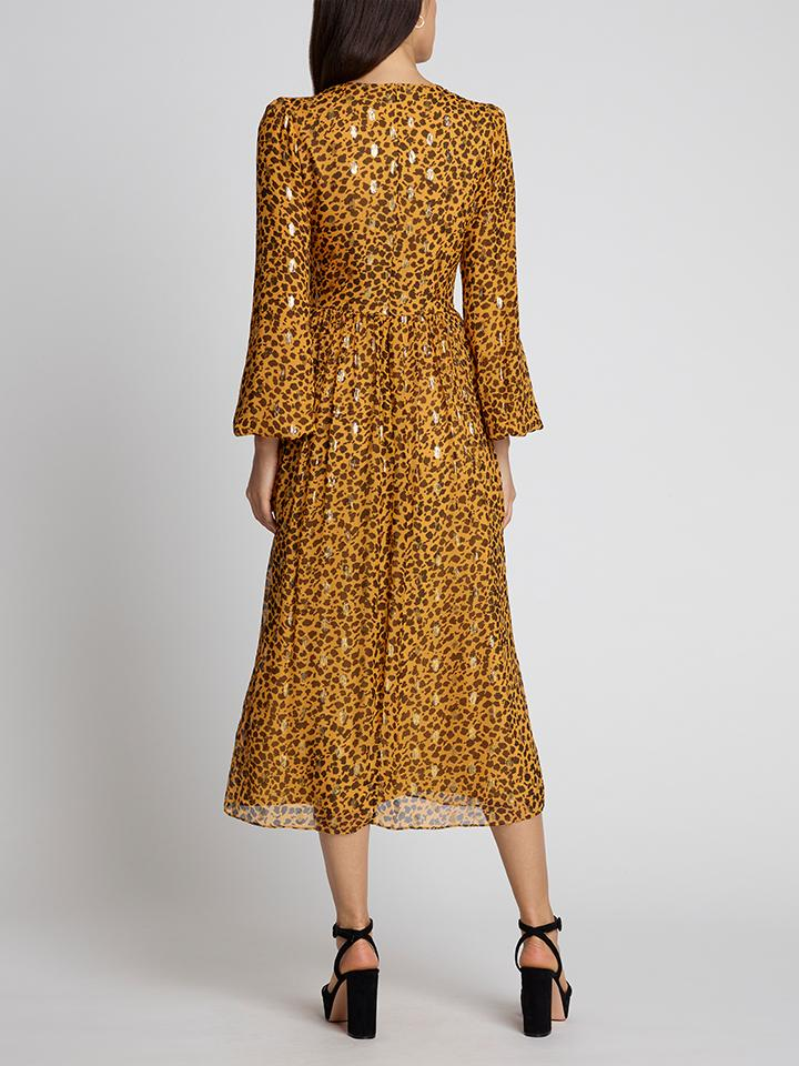 Load image into Gallery viewer, Camille B Gold Camo Leopard Dress