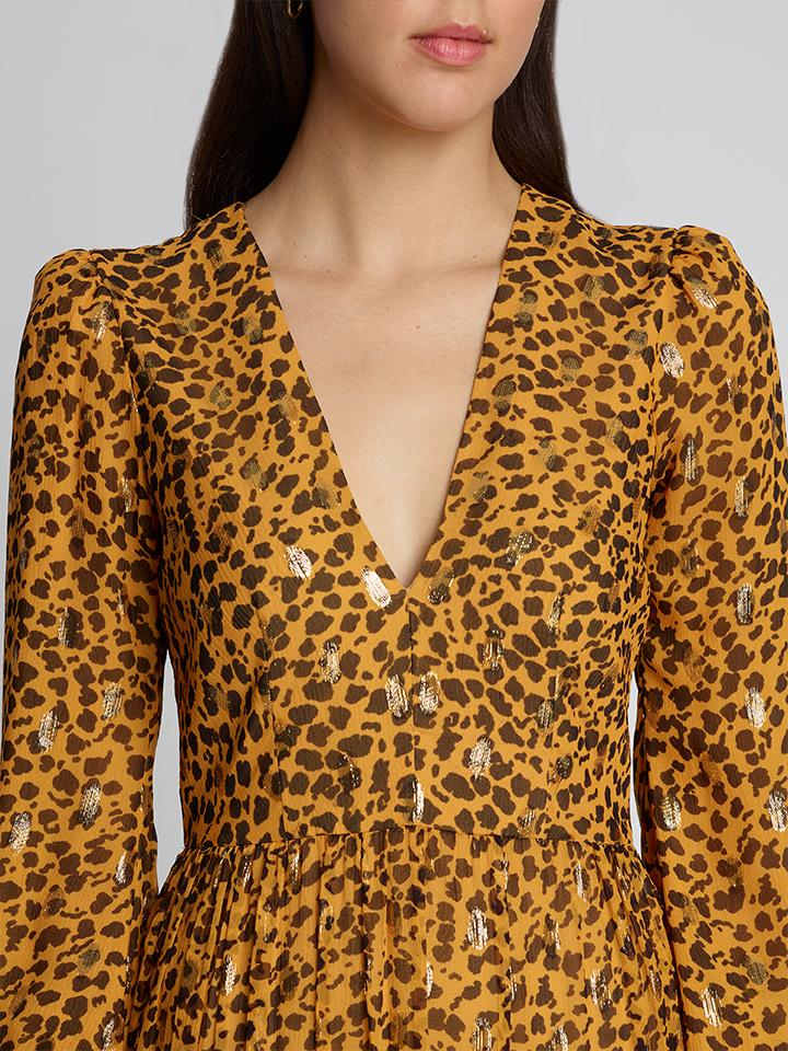 Load image into Gallery viewer, Venyx Camille B Gold Camo Leopard Dress