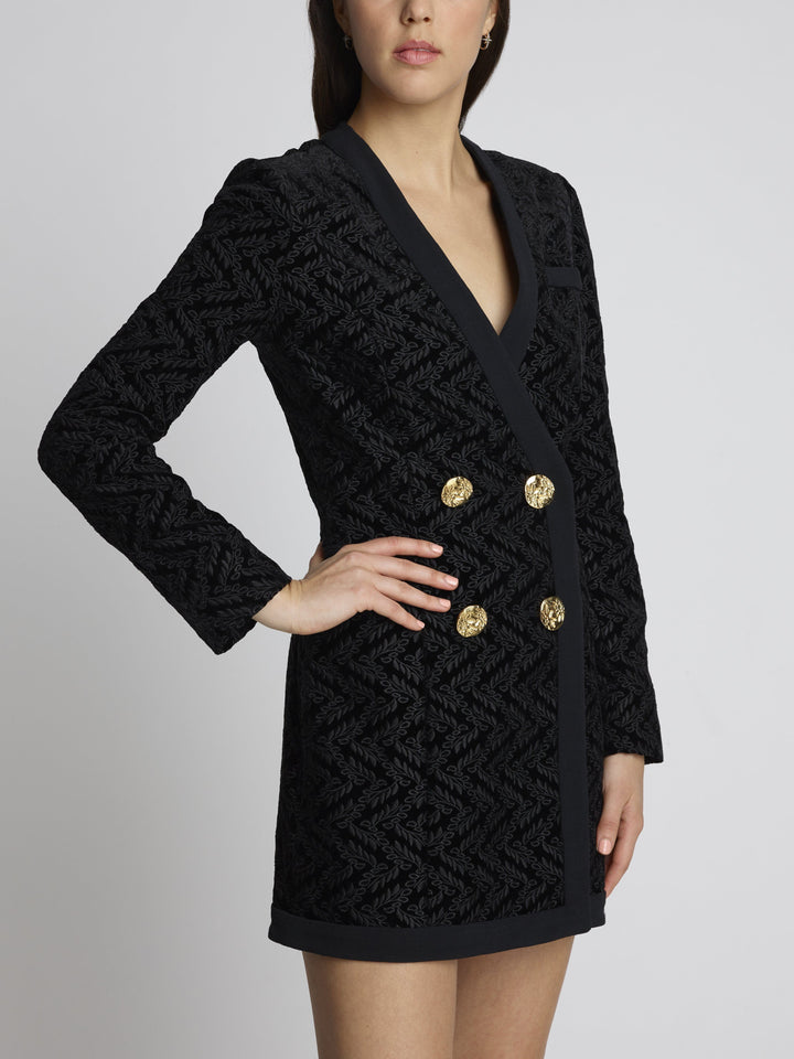 Load image into Gallery viewer, Bree Embroidered Velvet Blazer Mini Dress