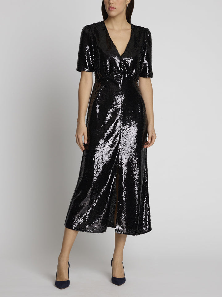 Load image into Gallery viewer, Eden Black Sequin Dress