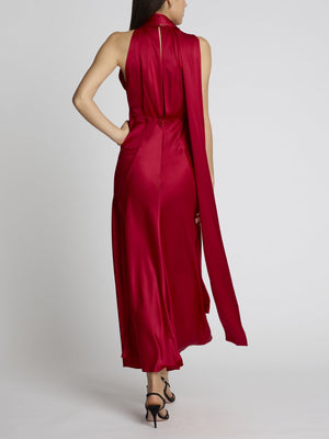 MICHELLE MIDI B CHERRY SILK DRESS