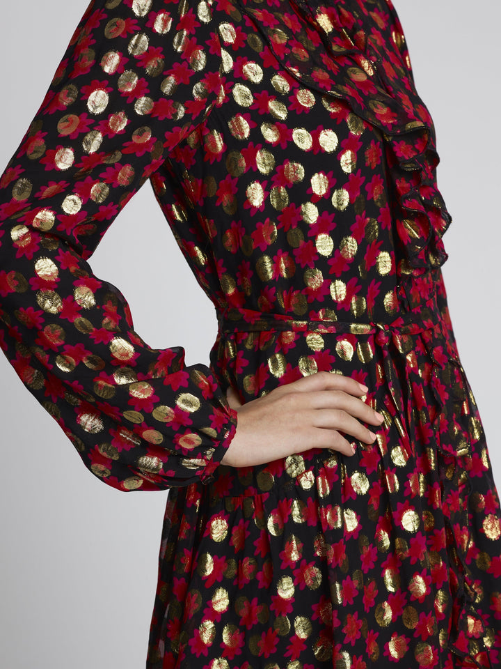 Load image into Gallery viewer, Tilly Ruffle C Scarlet Daisy Dress