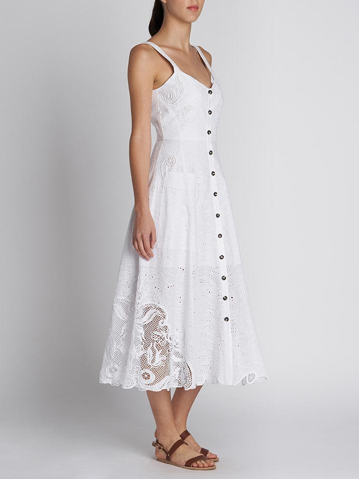 FARA B WHITE EMBROIDERED COTTON DRESS
