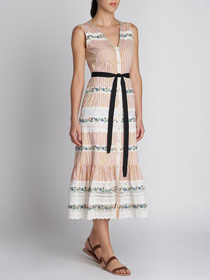 LORNA D EMBROIDERED STRIPE COTTON DRESS