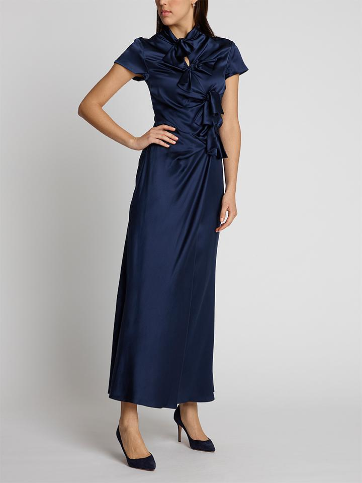 Load image into Gallery viewer, Kelly Navy Silk Dress