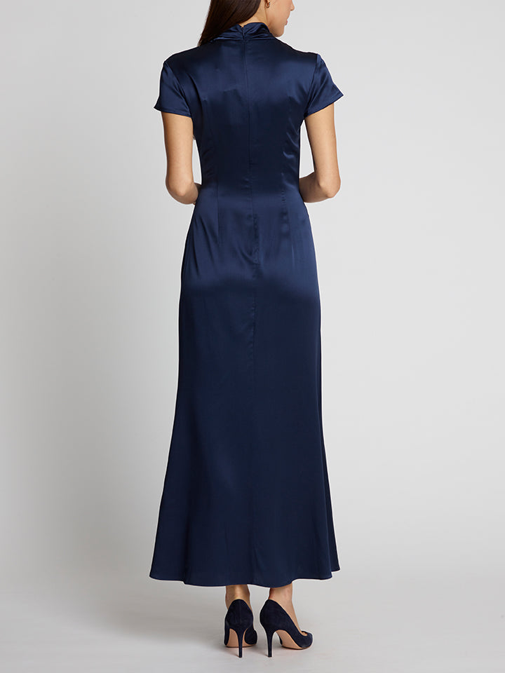Kelly Navy Silk Dress