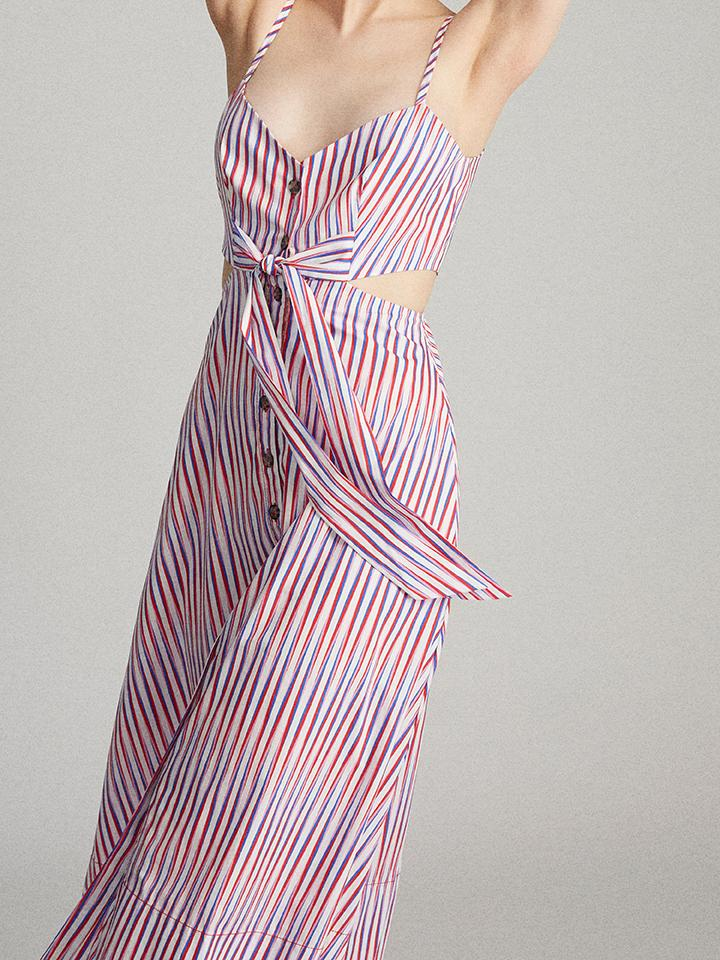 Load image into Gallery viewer, Lea Cutout-B Dress in Optic Stripe