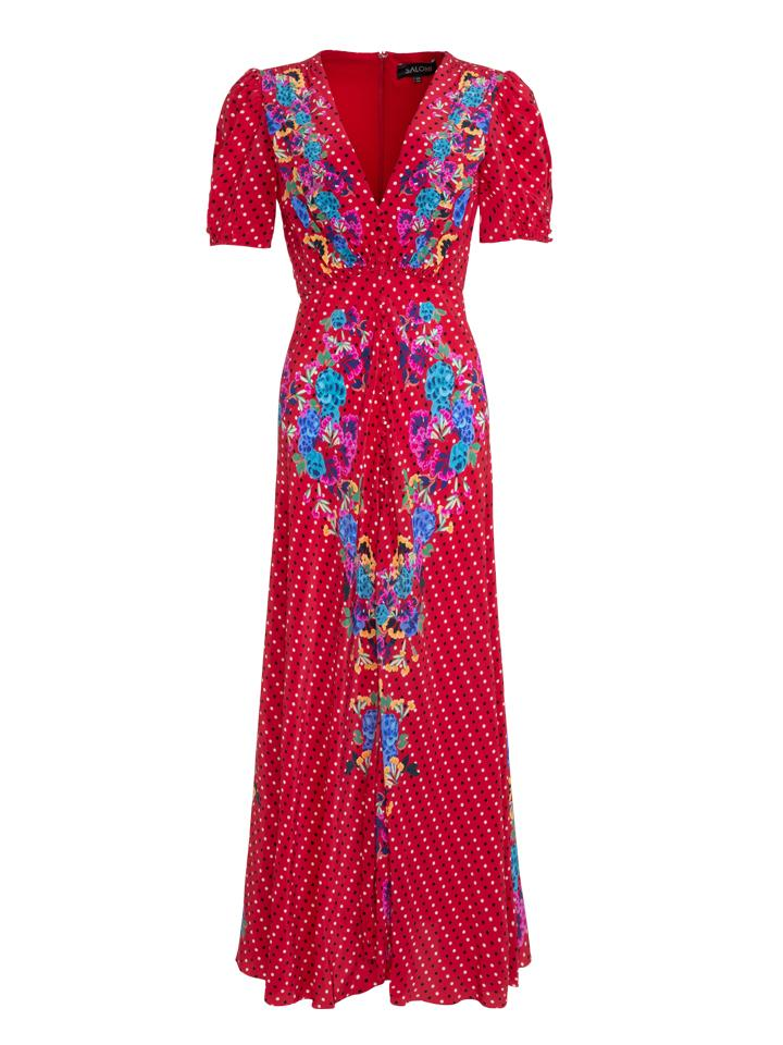 Load image into Gallery viewer, Lea Long Dress in Scarlet Polka Dot