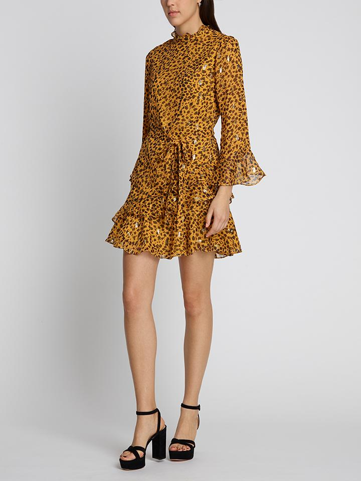 Marissa Mini Dress Gold Camo Leopard