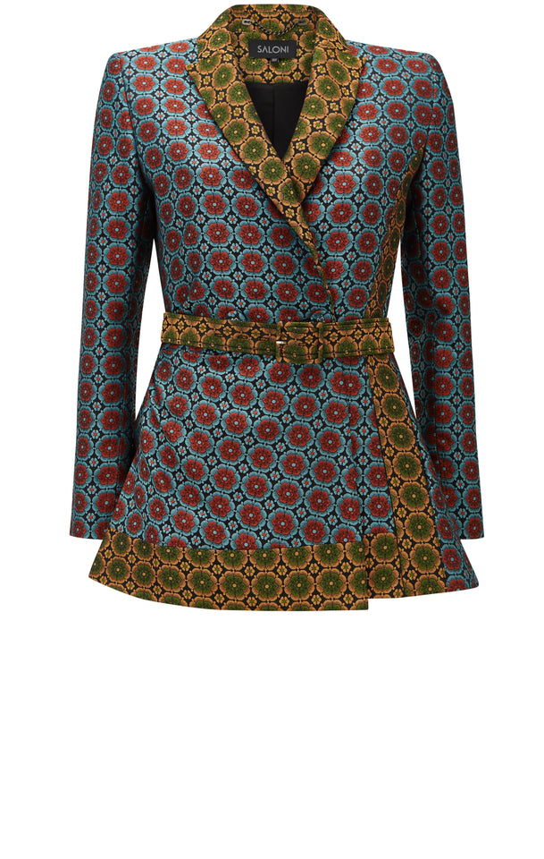 Load image into Gallery viewer, Maxima Topaz Floral Brocade Jacket