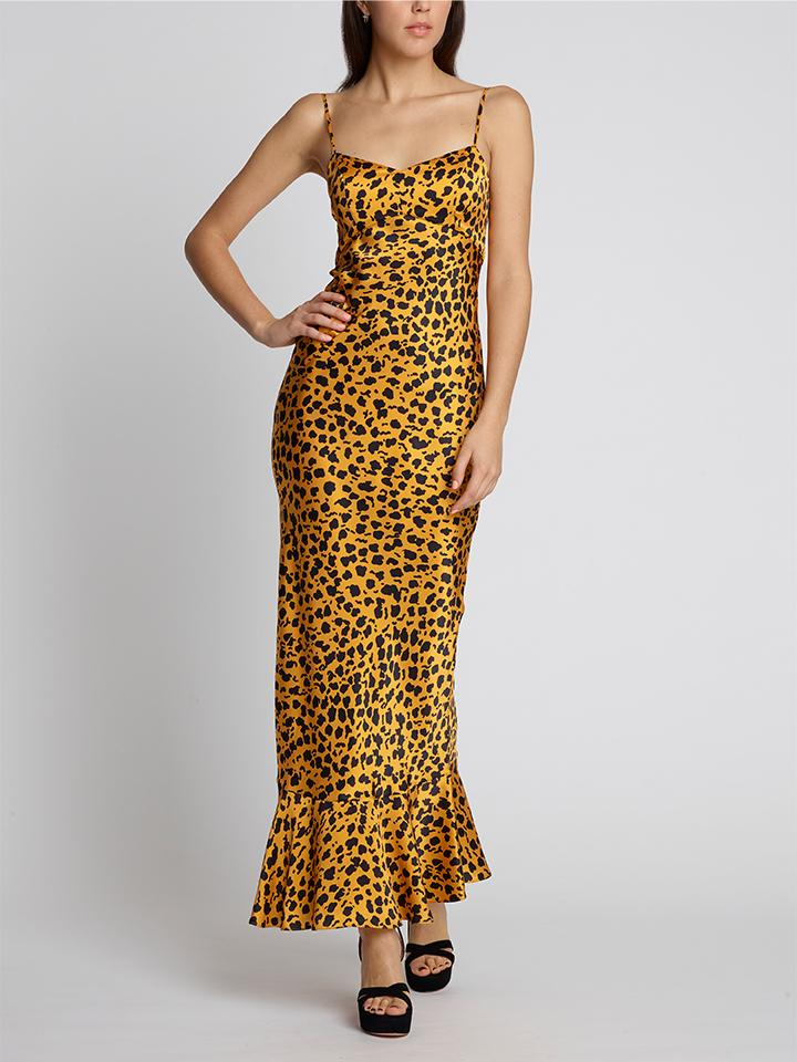 Load image into Gallery viewer, Mimi B Dress Gold Camo Leopard