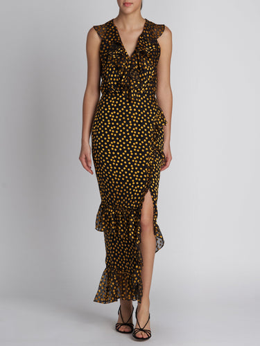 Anita Black Yellow Dots Dress