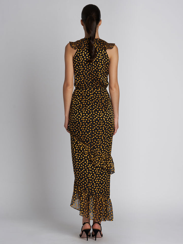 Load image into Gallery viewer, Anita Black Yellow Dots Dress