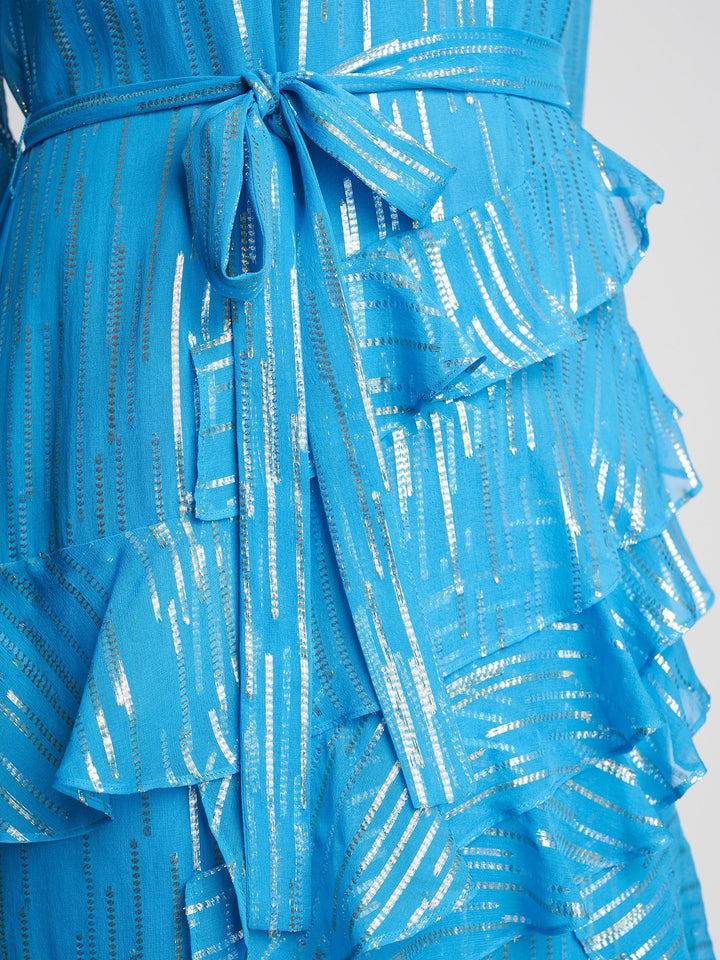 Load image into Gallery viewer, Marissa Turquoise Metallic Dress