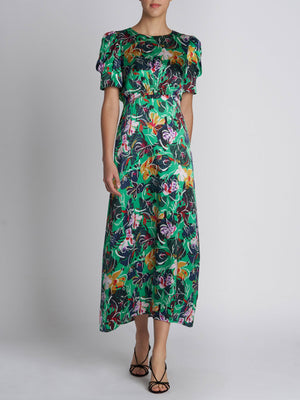 BIANCA EMERALD KINGCUP SILK DRESS