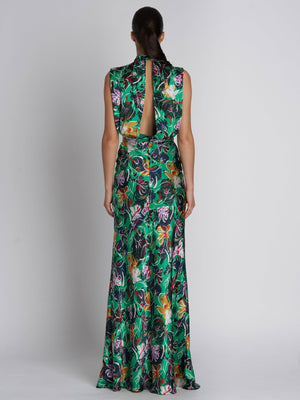 FLEUR EMERALD KINGCUP SILK DRESS